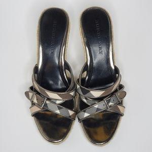 Nova Check Burberry Wedge Sandals